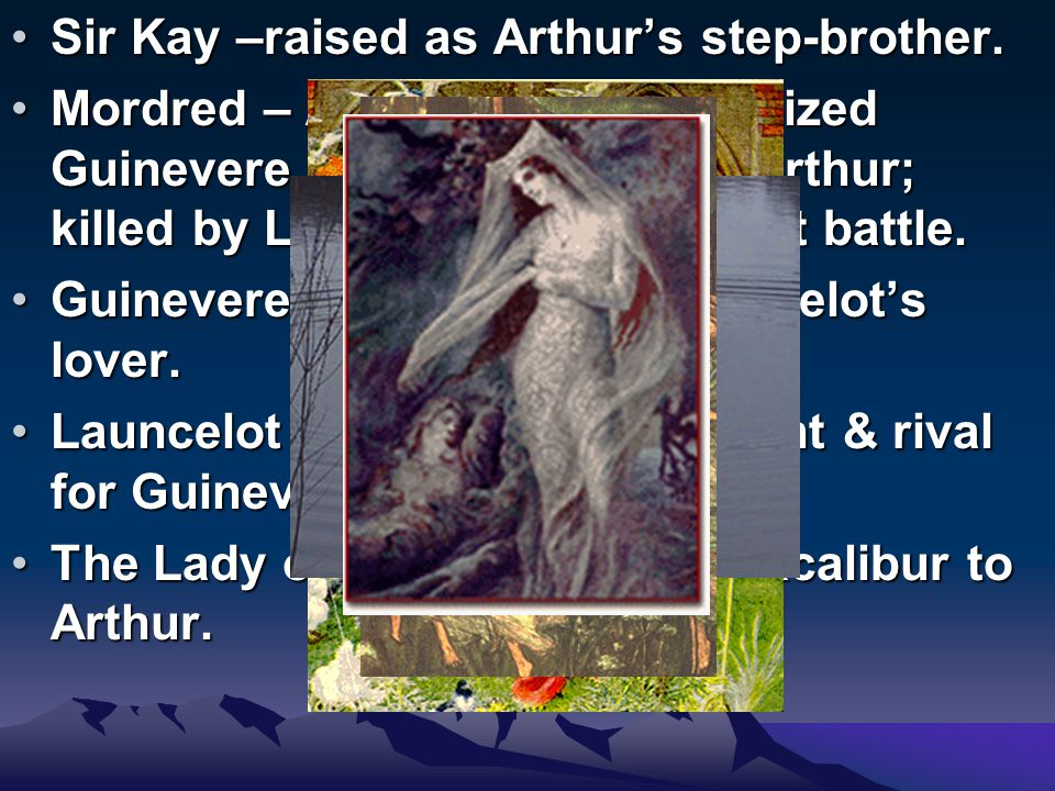 IMPORTANT CHARACTERS Merlin – Arthur's counselor, prophet, magician, & wizard.Merlin – Arthur's counselor, prophet, magician, & wizard.
