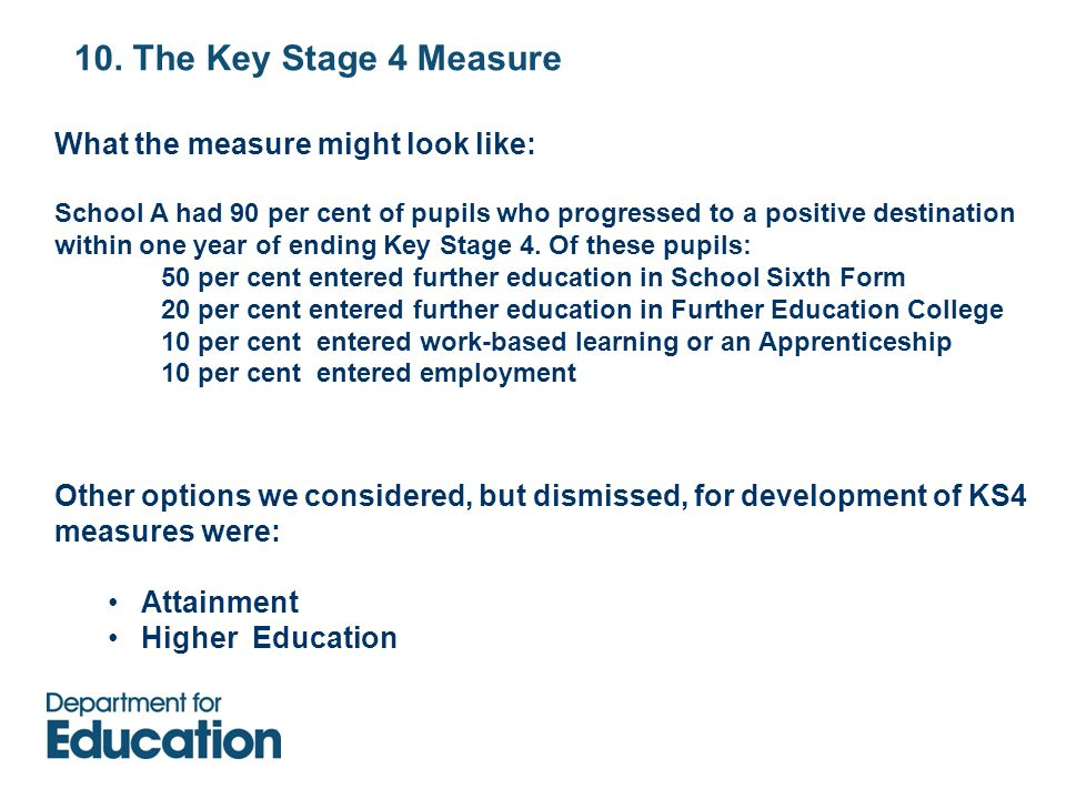 10. The Key Stage 4 Measure What the measure might look like: School A had 90 per cent of pupils who progressed to a positive destination within one y