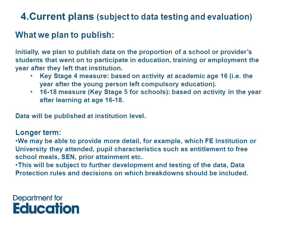 4.Current plans (subject to data testing and evaluation) What we plan to publish: Initially, we plan to publish data on the proportion of a school or