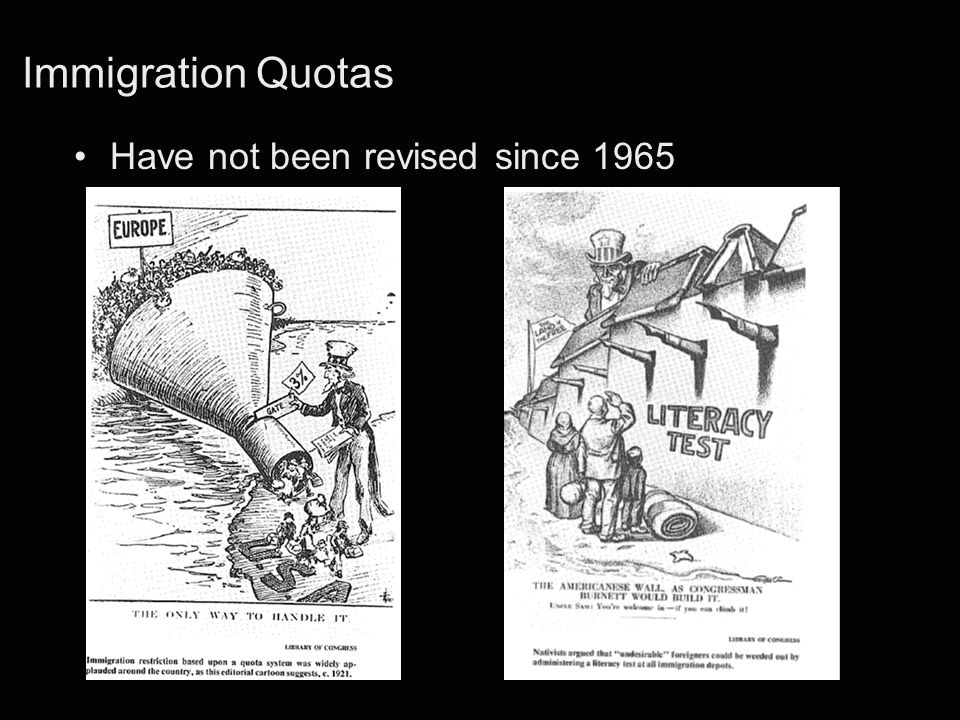 Immigration Quotas Have not been revised since 1965