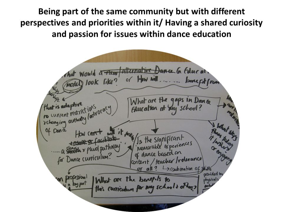 Being part of the same community but with different perspectives and priorities within it/ Having a shared curiosity and passion for issues within dance education