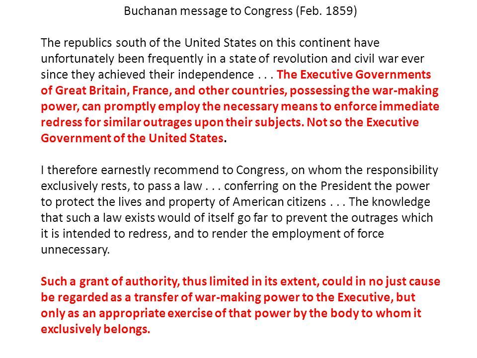 Buchanan message to Congress (Feb.