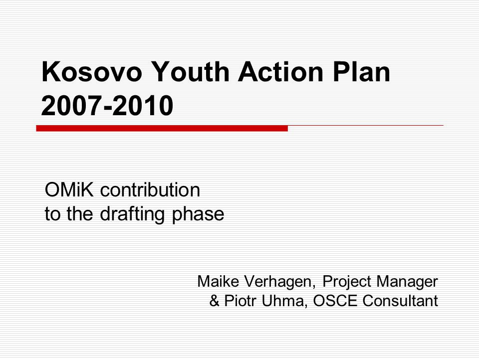 Example 1 Policy objective: to promote and ensure institutional mechanisms for youth participation in decision making processes.