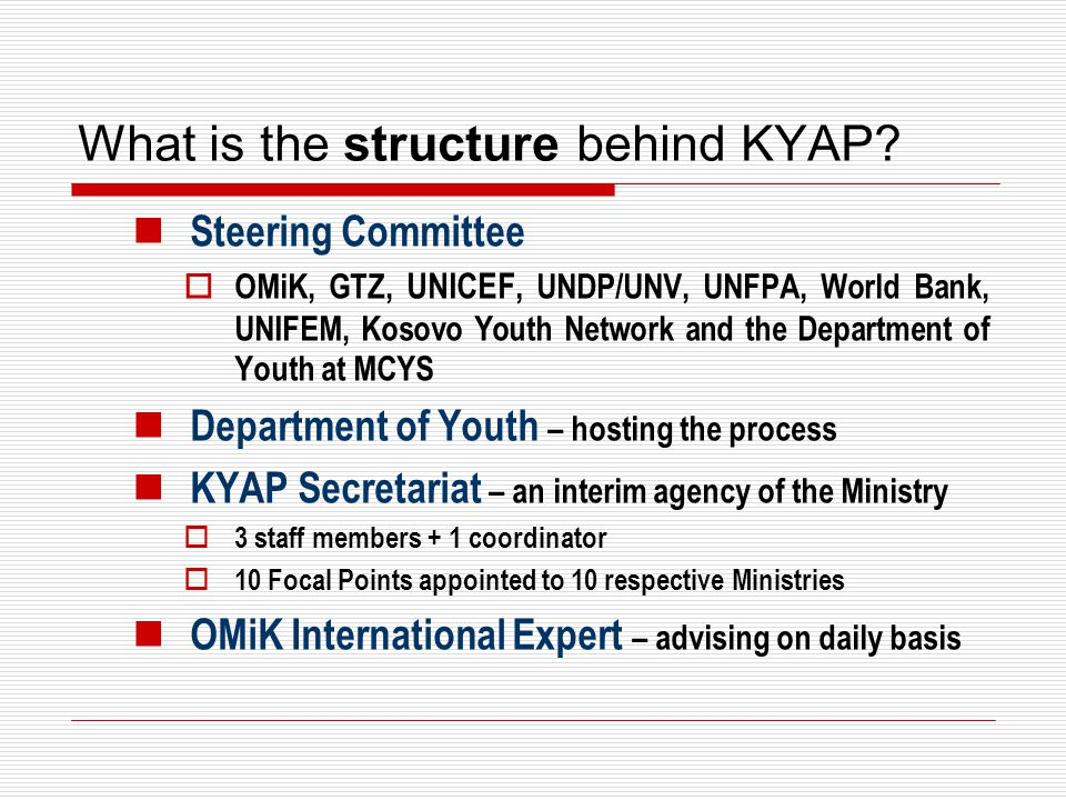 What is the structure behind KYAP? Steering Committee  OMiK, GTZ, UNICEF, UNDP/UNV, UNFPA, World Bank, UNIFEM, Kosovo Youth Network and the Departmen