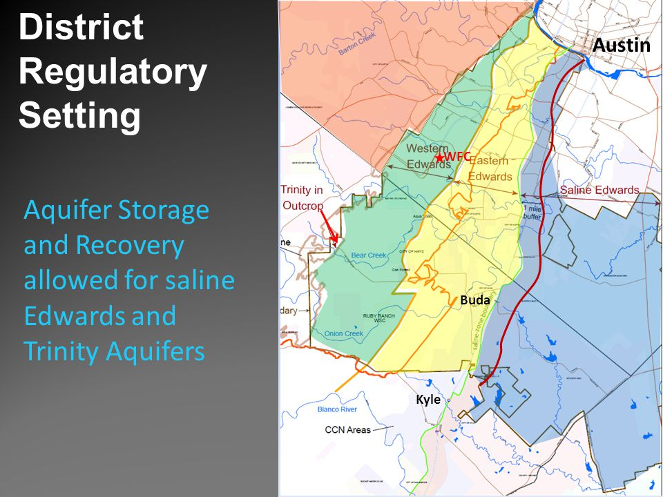 District Regulatory Setting Buda Austin Kyle WFC Aquifer Storage and Recovery allowed for saline Edwards and Trinity Aquifers