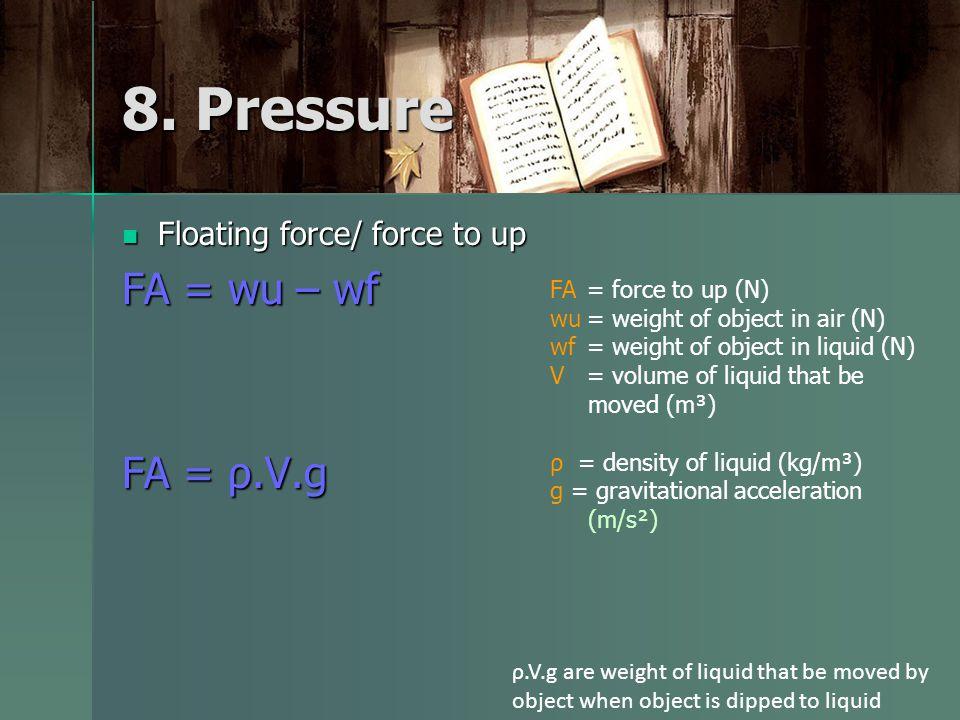 Floating force/ force to up Floating force/ force to up FA = wu – wf FA = ρ.V.g 8.
