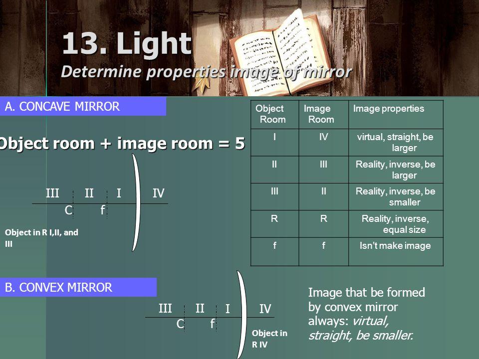 13. Light Determine properties image of mirror Object room + image room = 5 fC I II III IV Object Room Image Room Image properties IIVvirtual, straigh