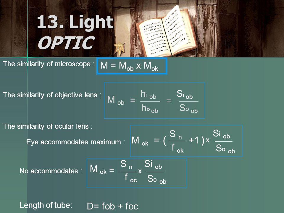 13. Light OPTIC The similarity of microscope : M = M ob x M ok The similarity of objective lens : M ob = h i ob h o ob S i ob S o ob = No accommodates