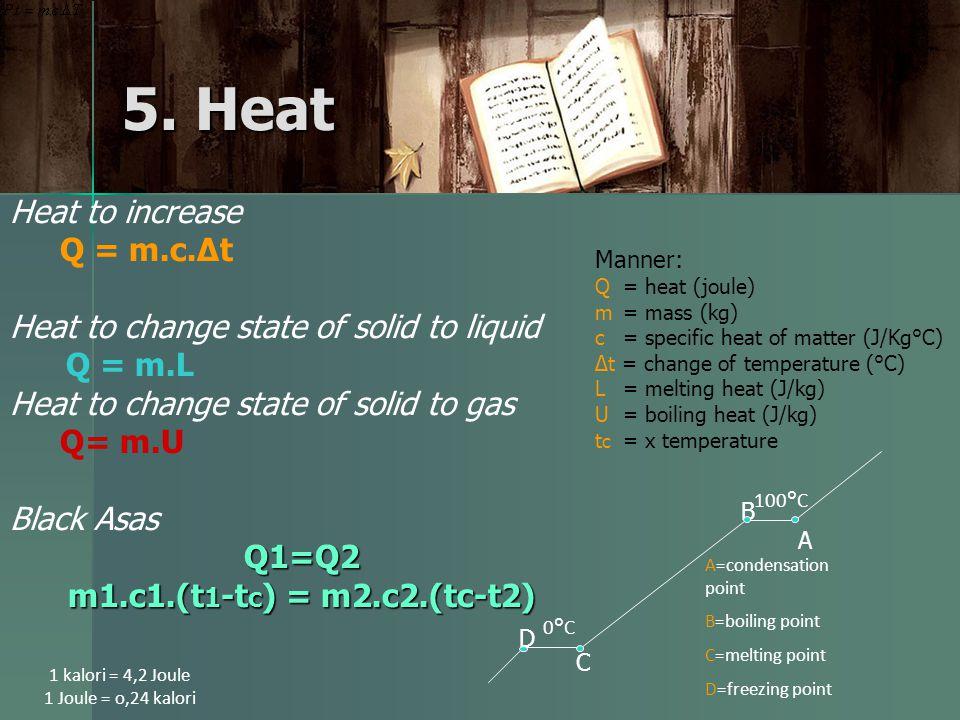 5. Heat Heat to increase Q = m.c.∆t Heat to change state of solid to liquid Q = m.L Heat to change state of solid to gas Q= m.U Q1=Q2 Black Asas Q1=Q2