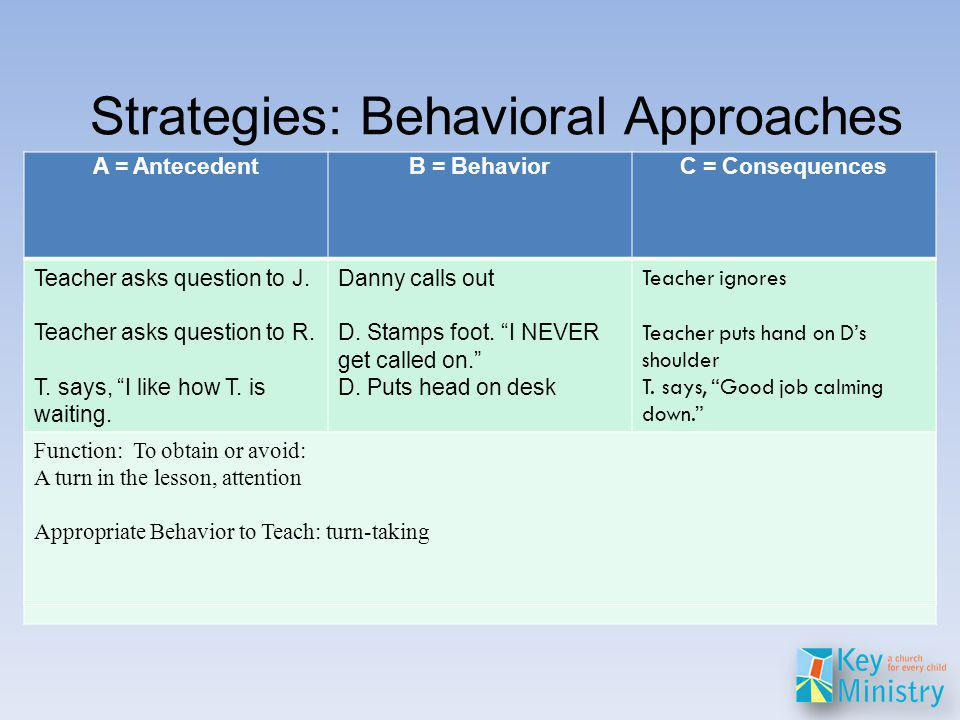 Strategies: Behavioral Approaches From Olson & Marker (2000).