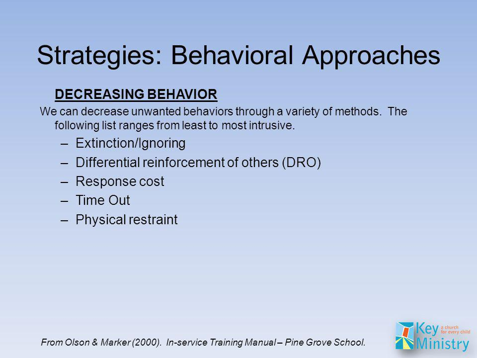 DECREASING BEHAVIOR We can decrease unwanted behaviors through a variety of methods.