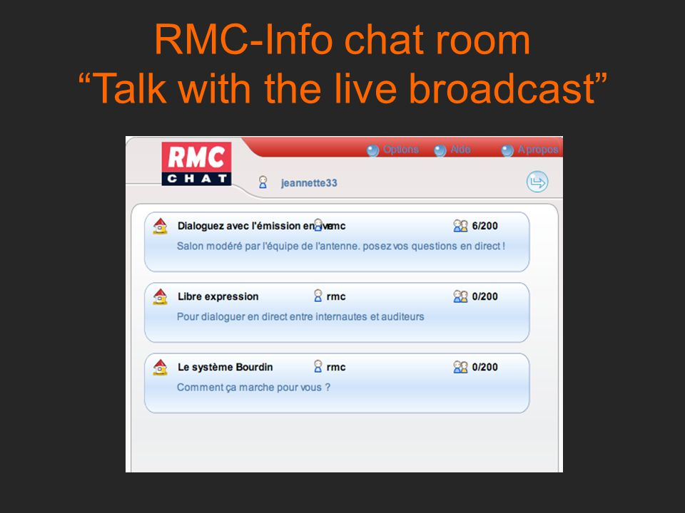 RMC-Info chat room Talk with the live broadcast