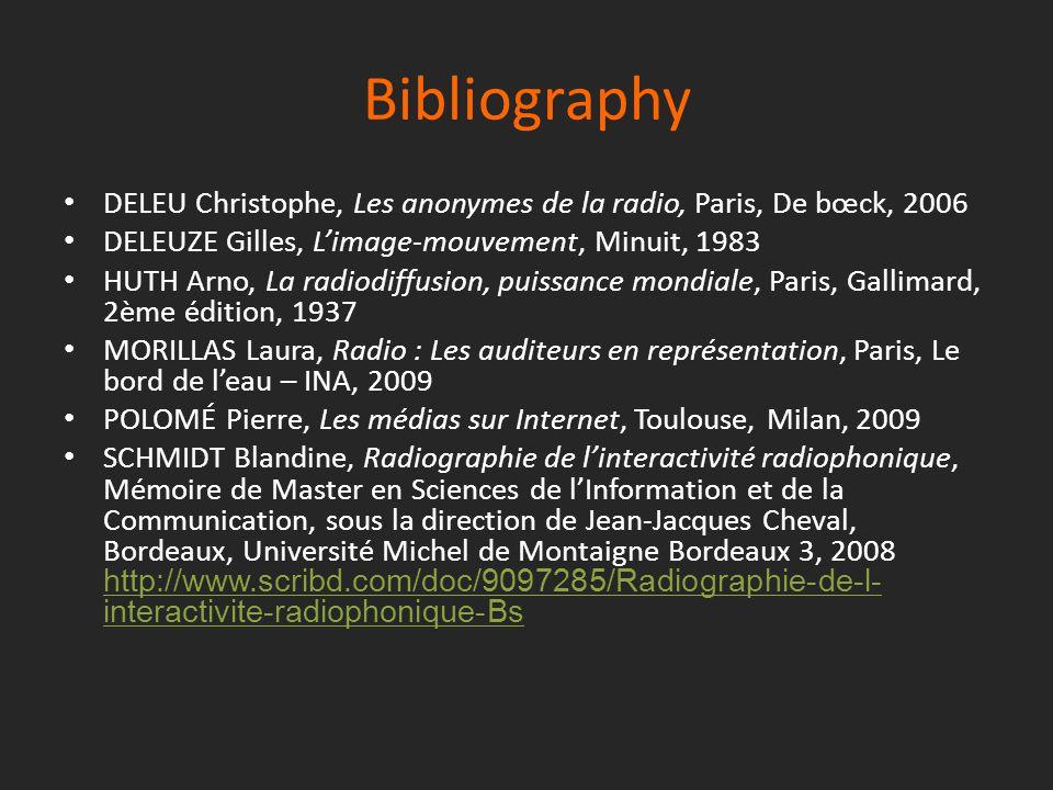 Bibliography DELEU Christophe, Les anonymes de la radio, Paris, De bœck, 2006 DELEUZE Gilles, L'image-mouvement, Minuit, 1983 HUTH Arno, La radiodiffu