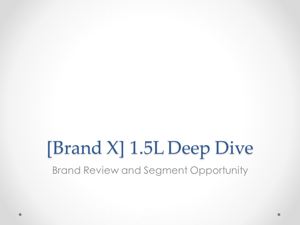 [Brand X] 1.5L Deep Dive Brand Review and Segment Opportunity