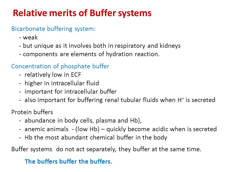 Bicarbonate buffering system: - weak - but unique as it involves both in respiratory and kidneys - components are elements of hydration reaction. Conc