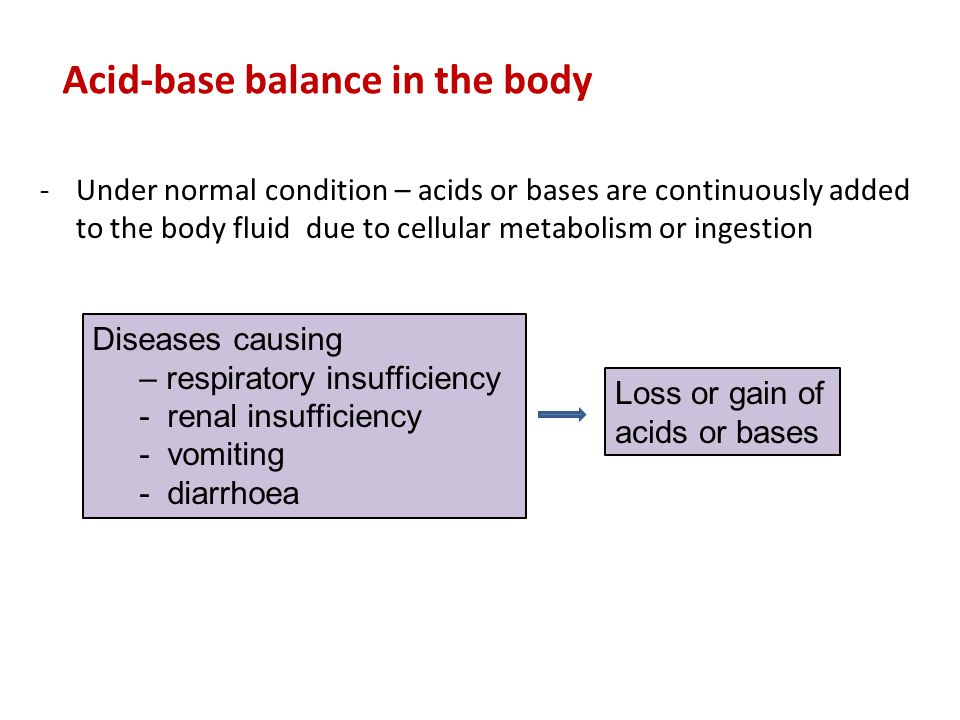 Acid-base balance in the body -Under normal condition – acids or bases are continuously added to the body fluid due to cellular metabolism or ingestio