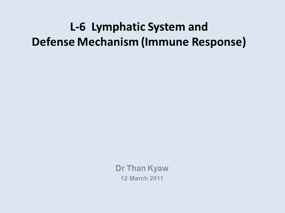 L-6 Lymphatic System and Defense Mechanism (Immune Response) Dr Than Kyaw 12 March 2011