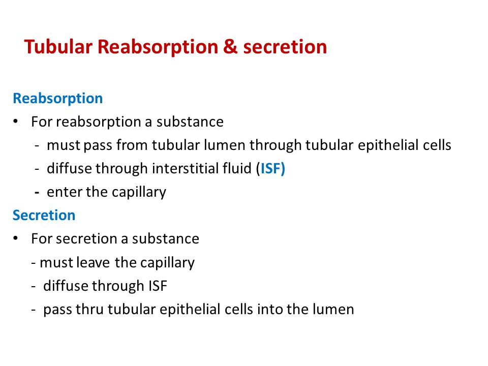 Reabsorption For reabsorption a substance - must pass from tubular lumen through tubular epithelial cells - diffuse through interstitial fluid (ISF) -