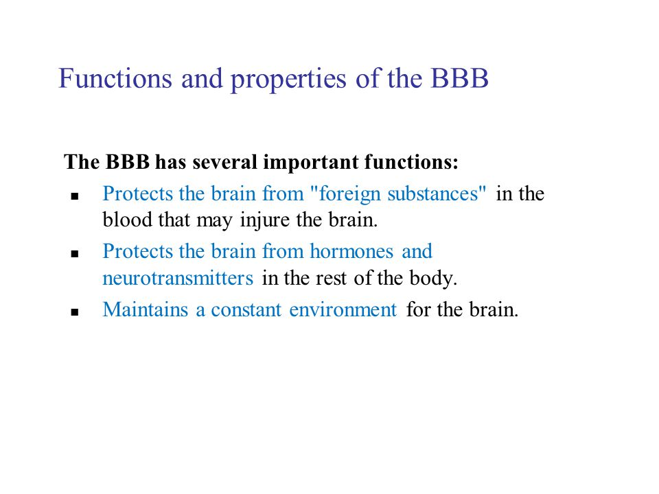 Functions and properties of the BBB The BBB has several important functions: Protects the brain from
