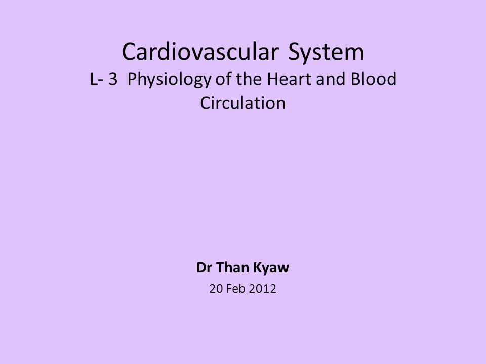 Cardiovascular System L- 3 Physiology of the Heart and Blood Circulation Dr Than Kyaw 20 Feb 2012