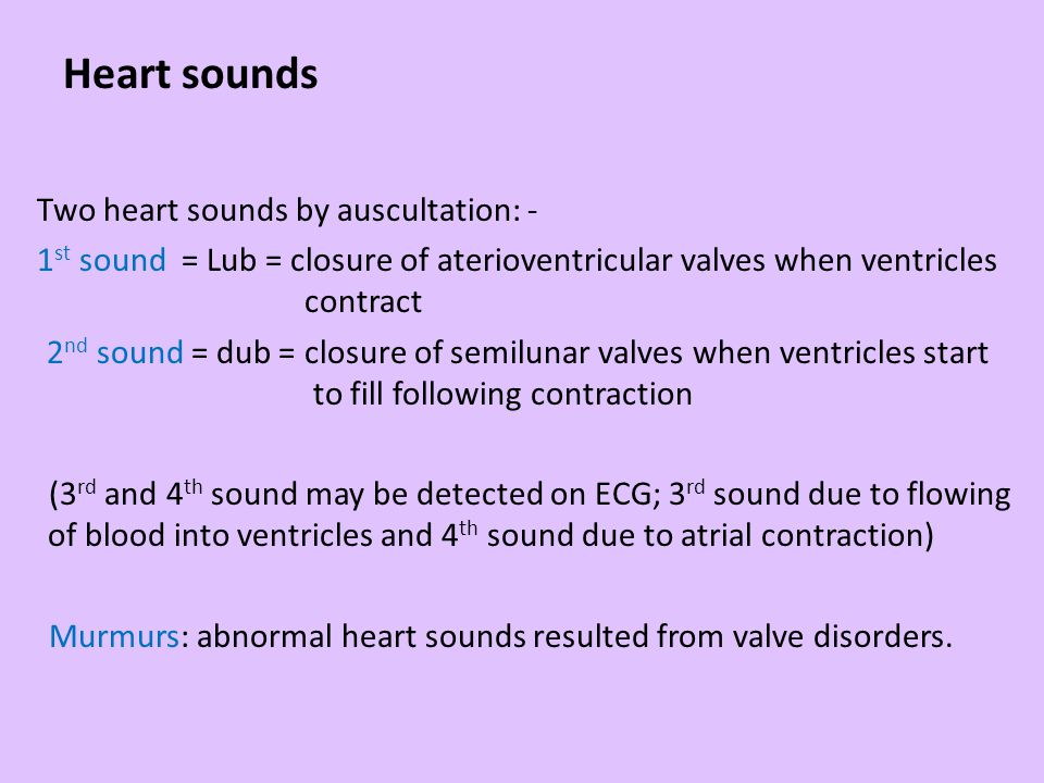 Heart sounds Two heart sounds by auscultation: - 1 st sound = Lub = closure of aterioventricular valves when ventricles contract 2 nd sound = dub = cl