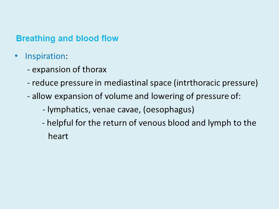 Breathing and blood flow Inspiration: - expansion of thorax - reduce pressure in mediastinal space (intrthoracic pressure) - allow expansion of volume