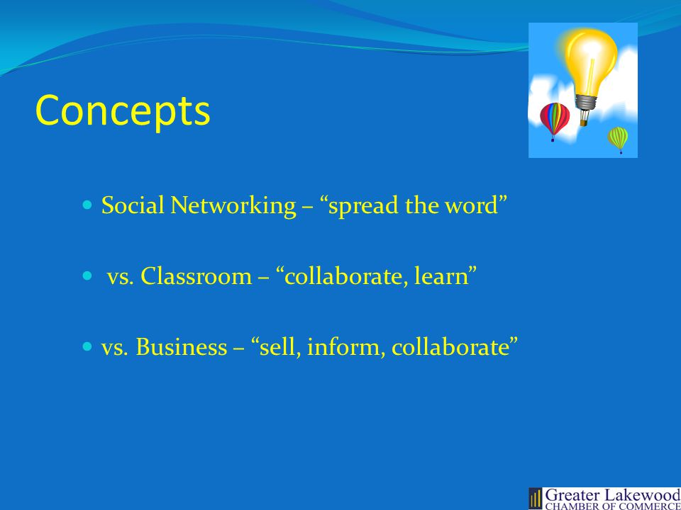 Concepts Social Networking – spread the word vs.