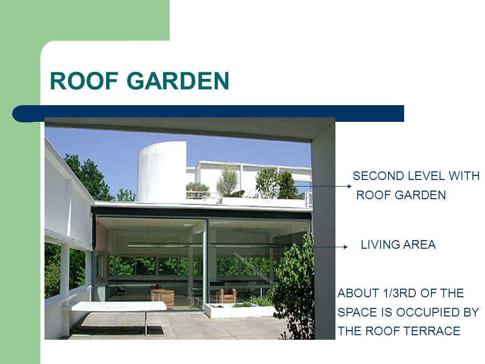 ROOF GARDEN ABOUT 1/3RD OF THE SPACE IS OCCUPIED BY THE ROOF TERRACE SECOND LEVEL WITH ROOF GARDEN LIVING AREA