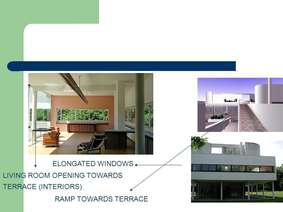 RAMP TOWARDS TERRACE LIVING ROOM OPENING TOWARDS TERRACE (INTERIORS) ELONGATED WINDOWS