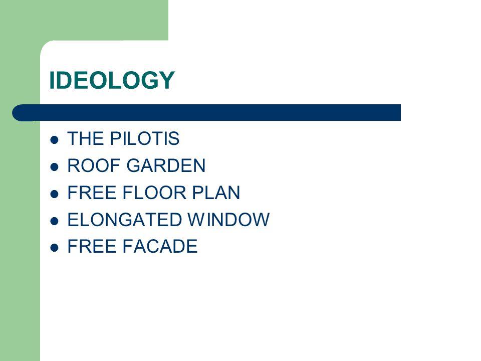IDEOLOGY THE PILOTIS ROOF GARDEN FREE FLOOR PLAN ELONGATED WINDOW FREE FACADE