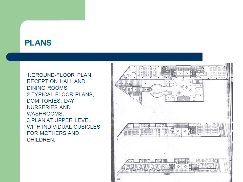 PLANS 1.GROUND-FLOOR PLAN, RECEPTION HALL AND DINING ROOMS. 2.TYPICAL FLOOR PLANS, DOMITORIES, DAY NURSERIES AND WASHROOMS. 3.PLAN AT UPPER LEVEL, WIT