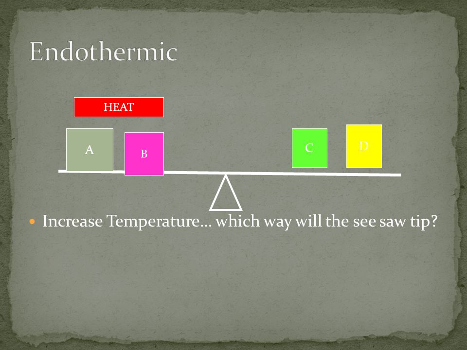 Increase Temperature… which way will the see saw tip? A B D C HEAT