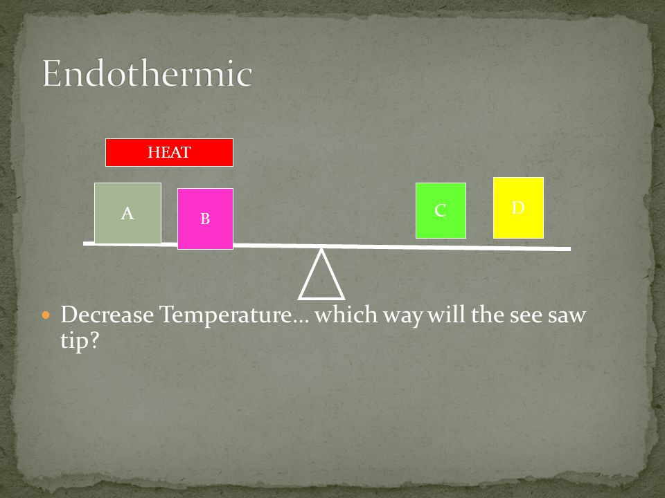 Decrease Temperature… which way will the see saw tip? A B D C HEAT