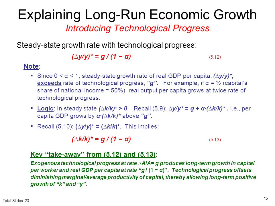 Steady-state growth rate with technological progress: (∆y/y)* = g / (1 − α) (5.12) Note:  Since 0 < α < 1, steady-state growth rate of real GDP per c