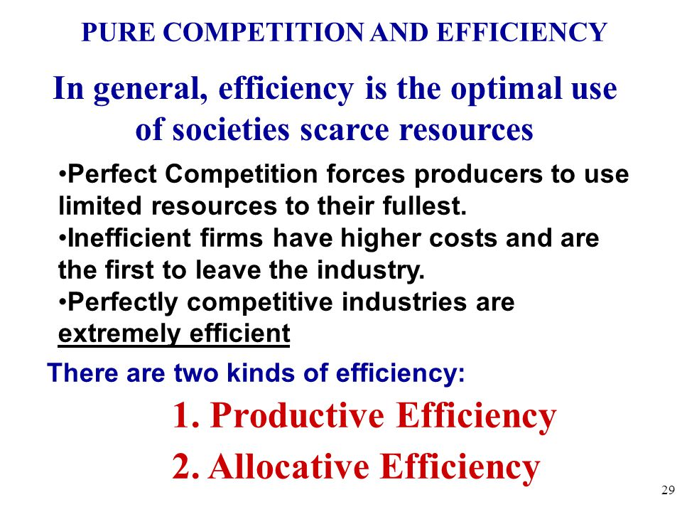PURE COMPETITION AND EFFICIENCY Perfect Competition forces producers to use limited resources to their fullest.