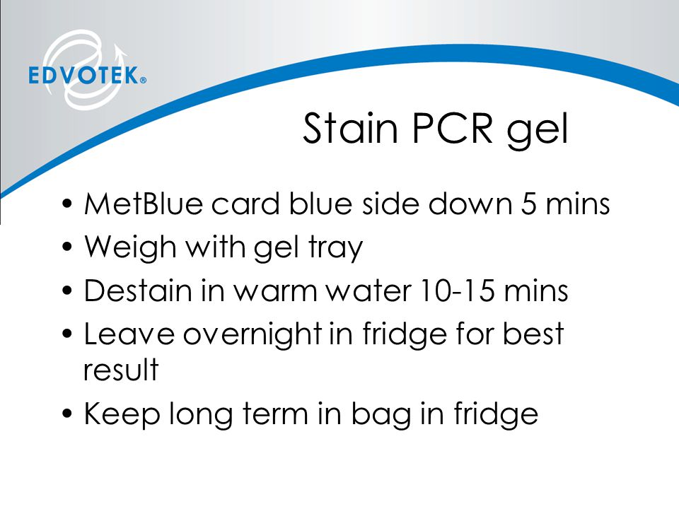 Stain PCR gel MetBlue card blue side down 5 mins Weigh with gel tray Destain in warm water 10-15 mins Leave overnight in fridge for best result Keep l