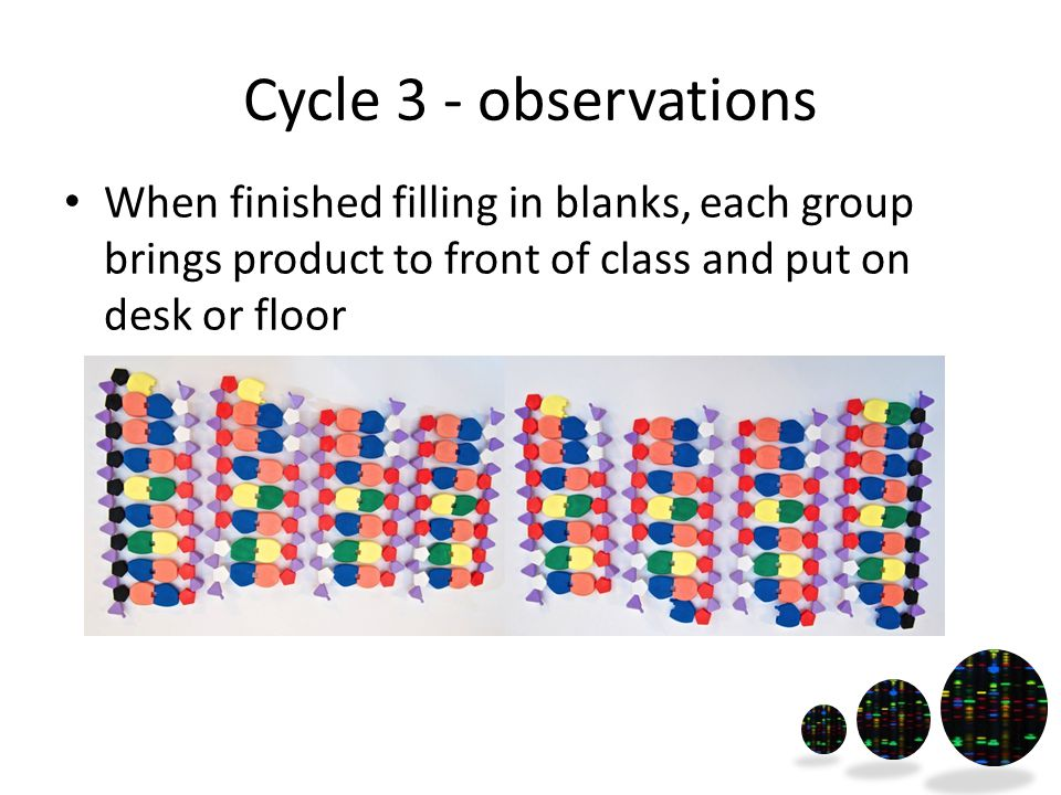 Cycle 3 - observations When finished filling in blanks, each group brings product to front of class and put on desk or floor