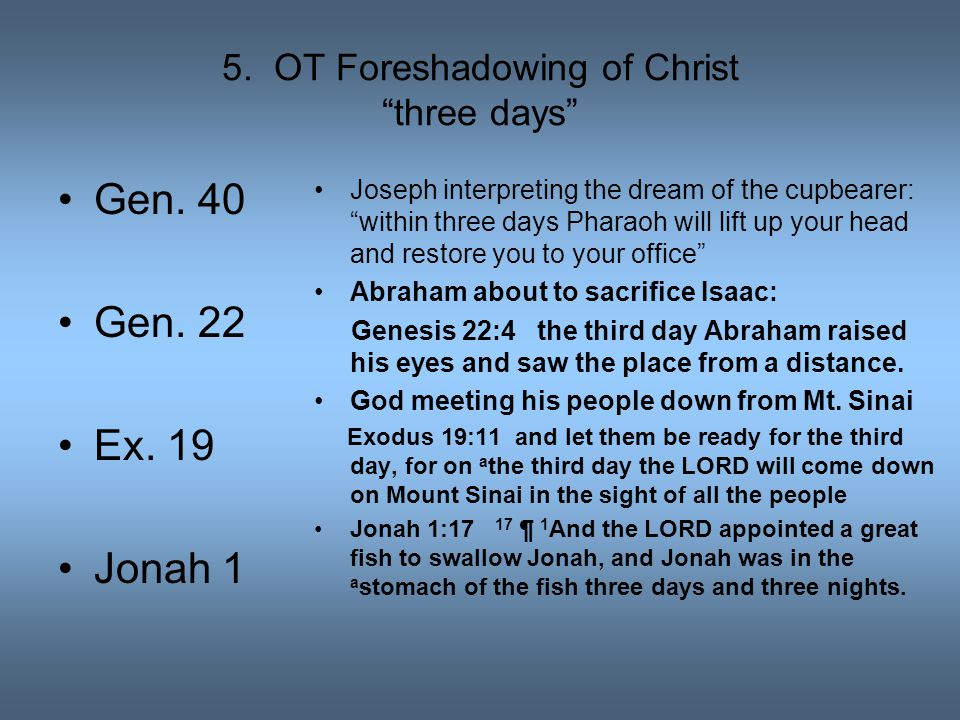 "5. OT Foreshadowing of Christ ""three days"" Gen. 40 Gen. 22 Ex. 19 Jonah 1 Joseph interpreting the dream of the cupbearer: ""within three days Pharaoh w"