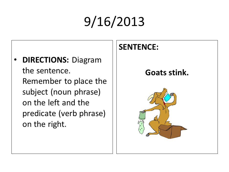 9/16/2013 DIRECTIONS: Diagram the sentence.
