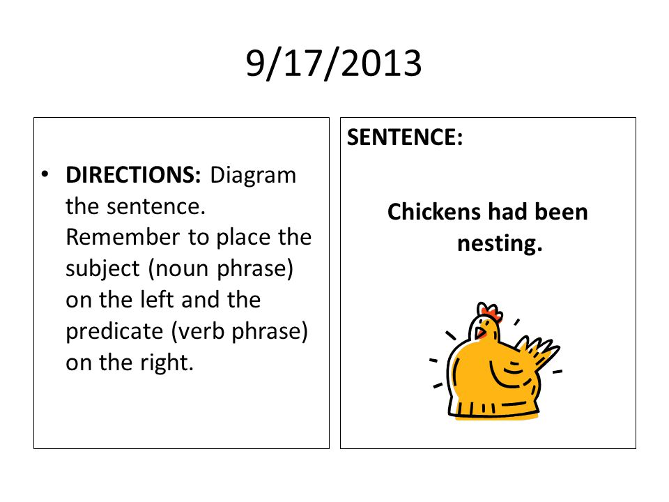 9/17/2013 DIRECTIONS: Diagram the sentence.
