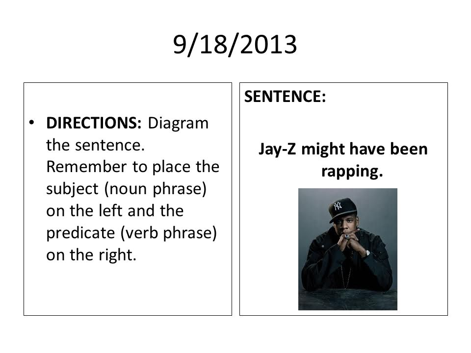 9/18/2013 DIRECTIONS: Diagram the sentence.