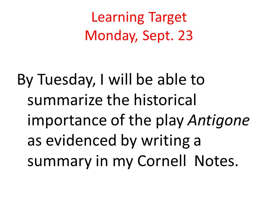 Learning Target Monday, Sept.