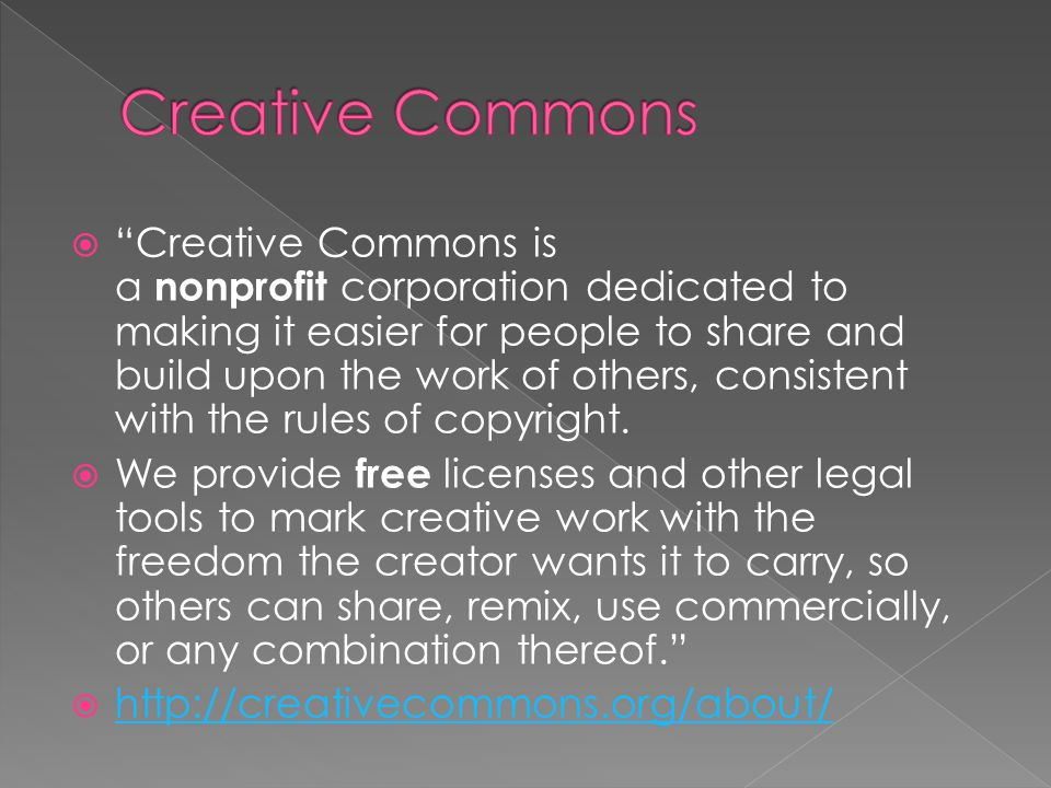  Why is Creative Commons important.› Copyright issues could be its own class.