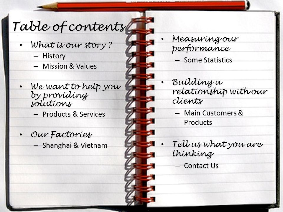 Table of contents What is our story . What is our story .