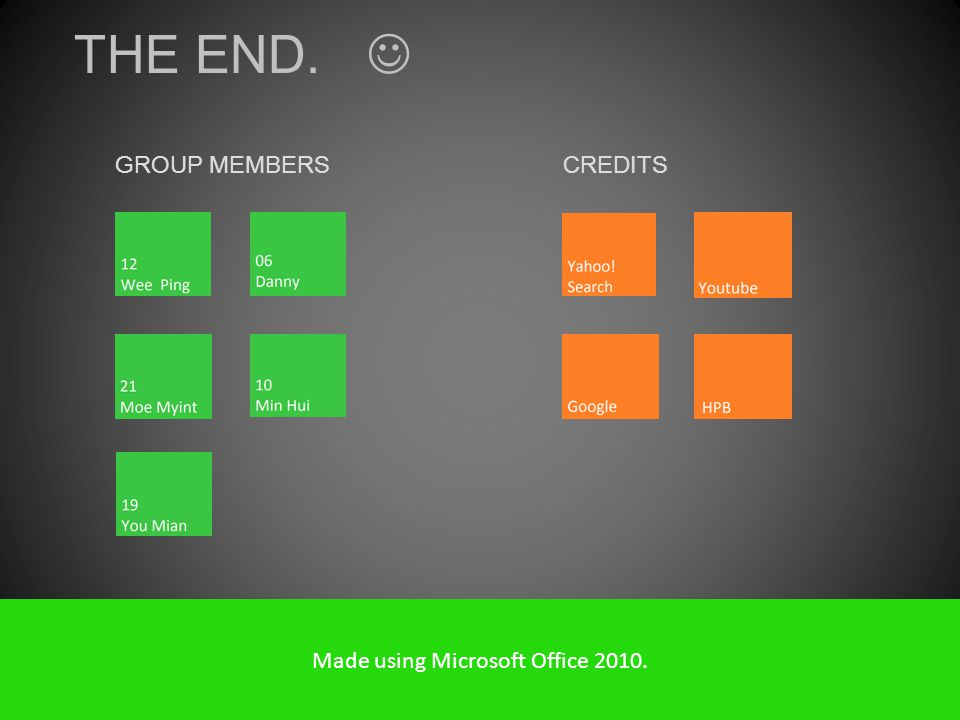 THE END. GROUP MEMBERS CREDITS Made using Microsoft Office 2010.