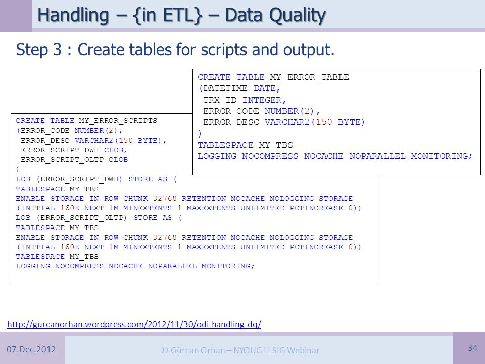 07.Dec.2012 © Gürcan Orhan – NYOUG LI SIG Webinar Handling – {in ETL} – Data Quality 34 Step 3 : Create tables for scripts and output.