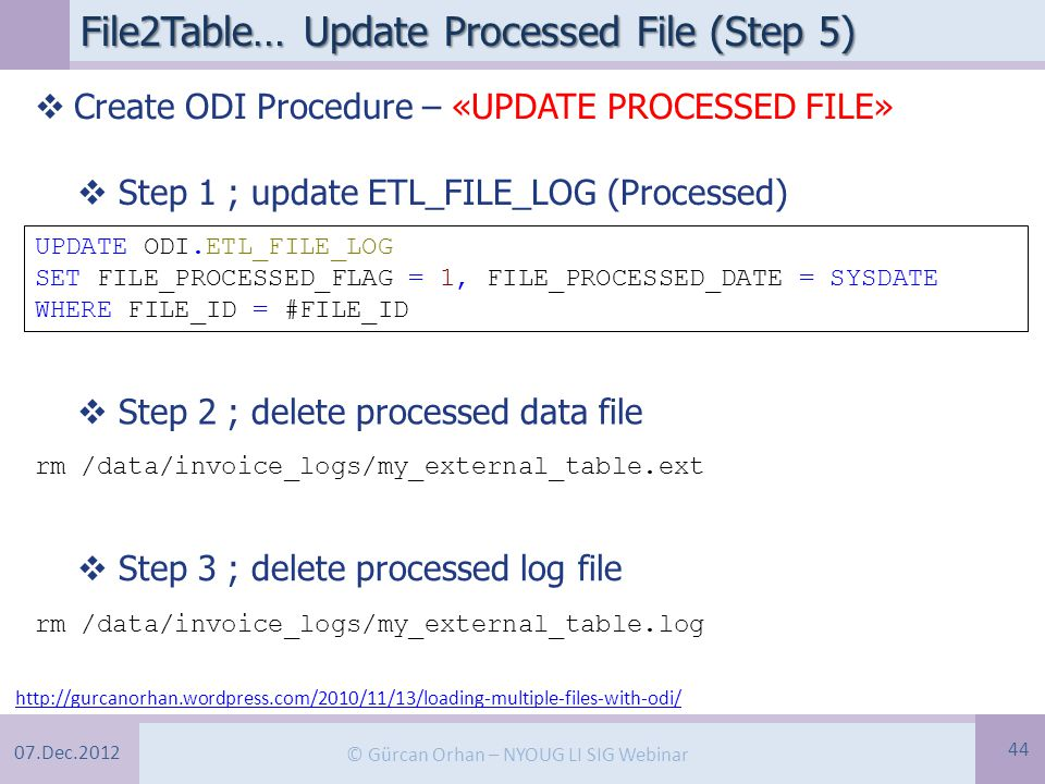 07.Dec.2012 © Gürcan Orhan – NYOUG LI SIG Webinar File2Table… Update Processed File (Step 5) 44 http://gurcanorhan.wordpress.com/2010/11/13/loading-multiple-files-with-odi/  Create ODI Procedure – «UPDATE PROCESSED FILE» UPDATE ODI.ETL_FILE_LOG SET FILE_PROCESSED_FLAG = 1, FILE_PROCESSED_DATE = SYSDATE WHERE FILE_ID = #FILE_ID  Step 1 ; update ETL_FILE_LOG (Processed)  Step 2 ; delete processed data file rm /data/invoice_logs/my_external_table.ext  Step 3 ; delete processed log file rm /data/invoice_logs/my_external_table.log