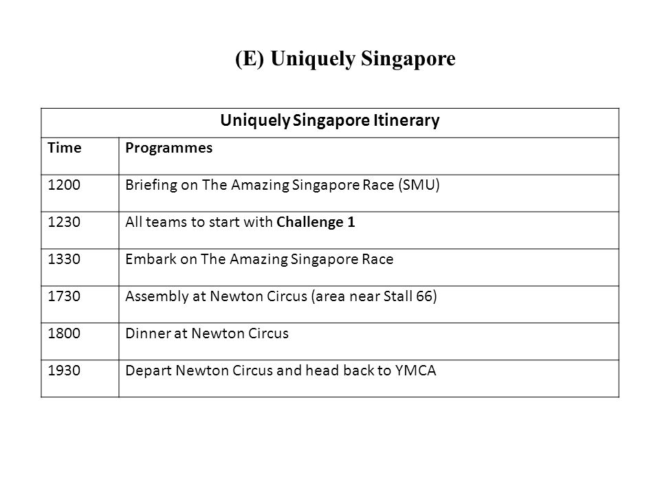 (E) Uniquely Singapore Uniquely Singapore Itinerary TimeProgrammes 1200Briefing on The Amazing Singapore Race (SMU) 1230All teams to start with Challenge 1 1330Embark on The Amazing Singapore Race 1730Assembly at Newton Circus (area near Stall 66) 1800Dinner at Newton Circus 1930Depart Newton Circus and head back to YMCA