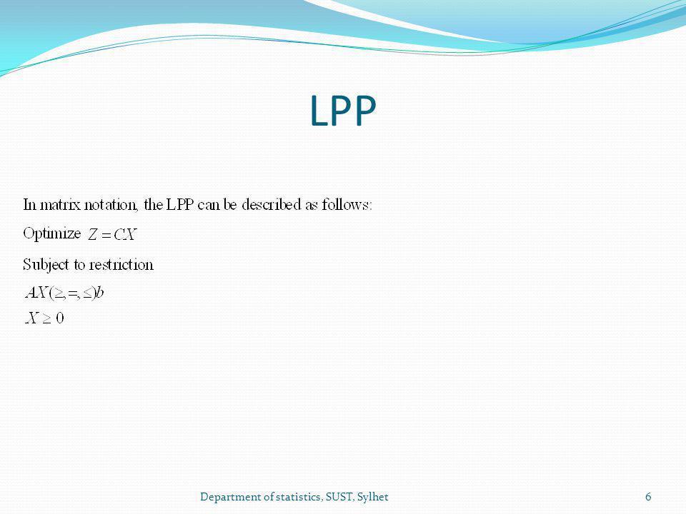 LPP 6Department of statistics, SUST, Sylhet