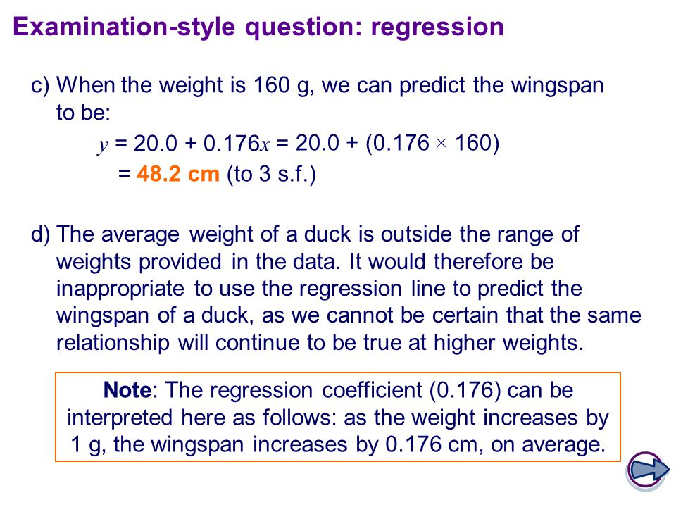 c)When the weight is 160 g, we can predict the wingspan to be: y = 20.0 + 0.176 x = d)The average weight of a duck is outside the range of weights provided in the data.